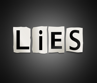 Illustration depicting cutout printed letters arranged to form the word lies.