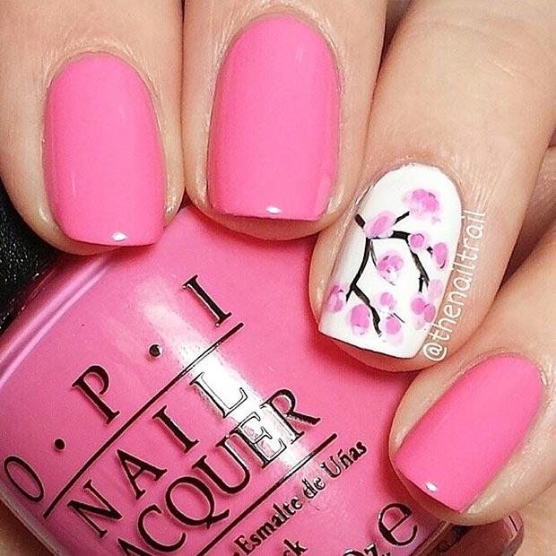 Pink-Spring-Cherry-Blossom-Nail-Design