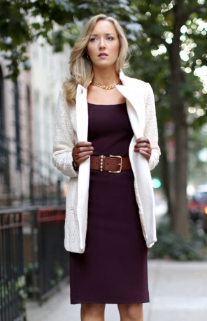 Coat closer open pim and larkin piperlime cream ivory winter white lace coat burgundy bordeaux knit sheath dress ralph lauren brown caramel cognac gloves pointed pumps heels gold hardware street style new york city
