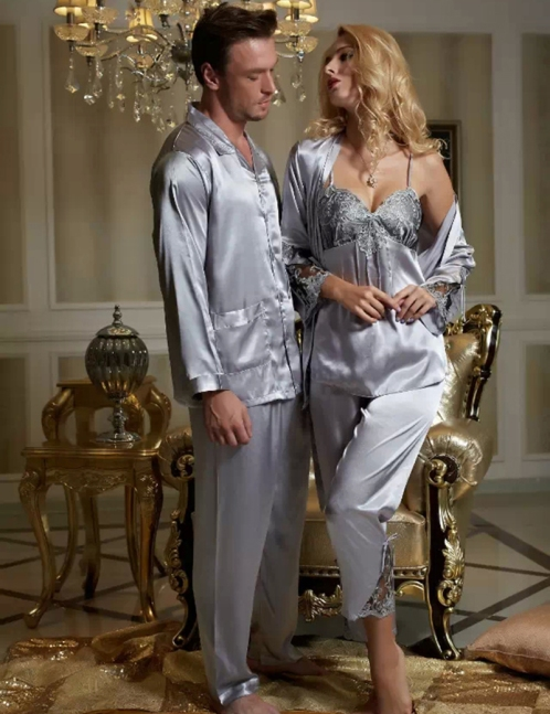 Silvery-Grey-Couple-Pajama-font-b-Suit-b-font-Emulation-font-b-Silk-b-font-font