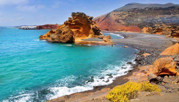 Lanzarote El Golfo Atlantic ocean near Lago de los Clicos in Canary Islands