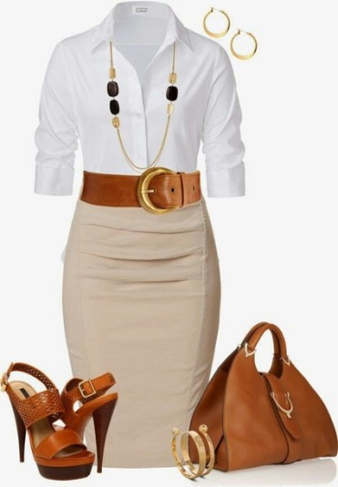 15gh9z-l-610x610-skirt-beige-pencil-skirt-office-outfit-white-and-beige-blouse-shoes-bag-jewels