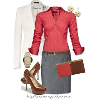 coral-button-down-denim-colored-pencil-skirt-white-blazer-brown-peep-toe-heels-and-matching-skinny-belt-with-simple-gold-accessories-totally-doable-a-purse-that-matches-perfectly-right-still-v
