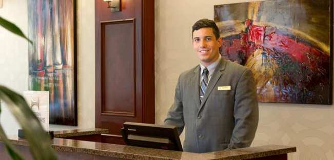 Welcome to the Embassy Suites hotel.