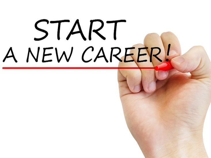 "Hand writing ""Start a new career"" with marker, concept"