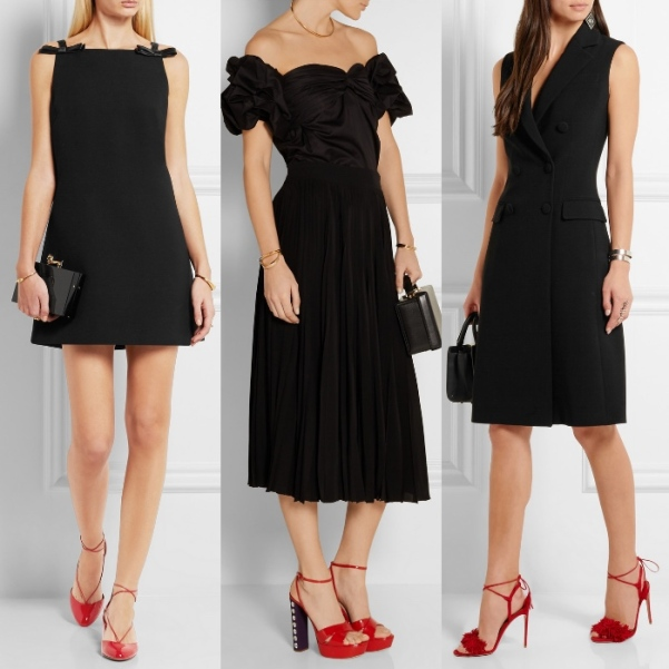 black-dress-with-red-shoes